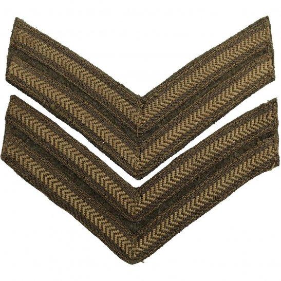 WW2 British Army Corporal Cloth Chevron Insignia Rank Stripes PAIR