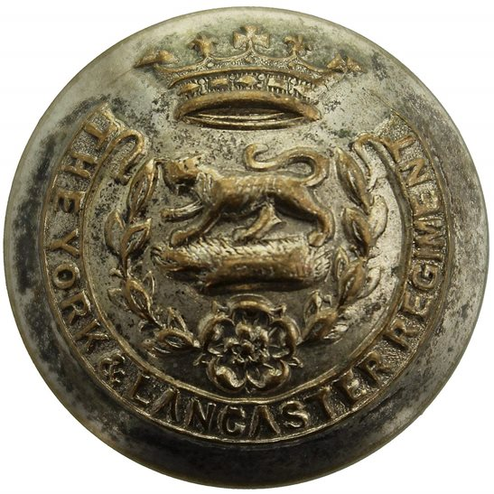York and Lancaster York and Lancaster Regiment WHITE METAL Tunic Button - 26mm