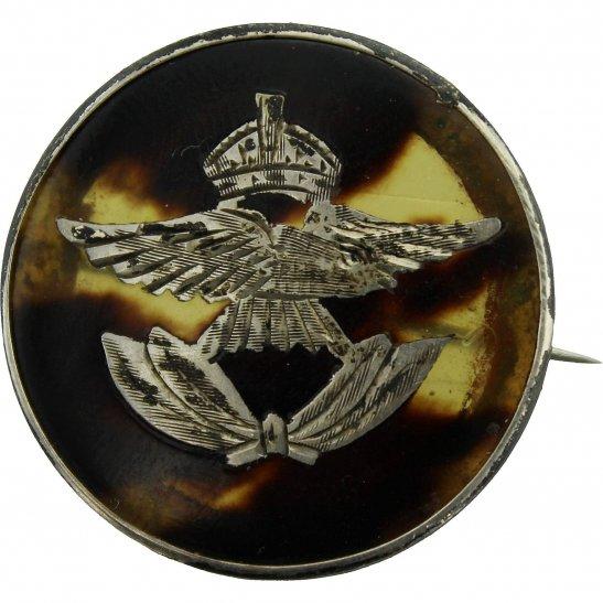Royal Air Force RAF WW2 Royal Air Force RAF Tortoise Shell HALLMARKED SILVER Sweetheart Brooch - 62mm