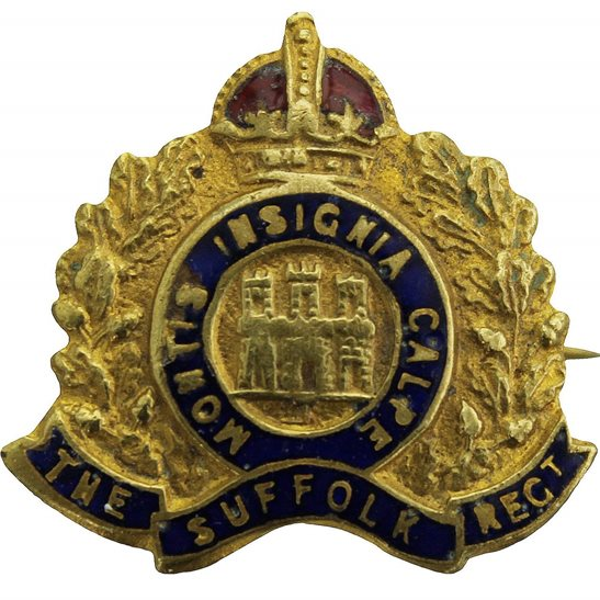 The Suffolk Regiment Sweetheart Brooch Badge