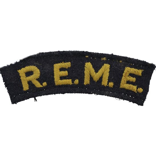 Royal Electrical & Mechanical Engineers REME WW2 Royal Electrical & Mechanical Engineers REME Cloth Shoulder Title Badge Flash