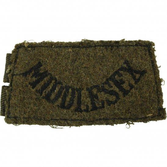 Middlesex Regiment WW2 Middlesex Regiment Cloth SLIP ON Shoulder Title Badge Flash