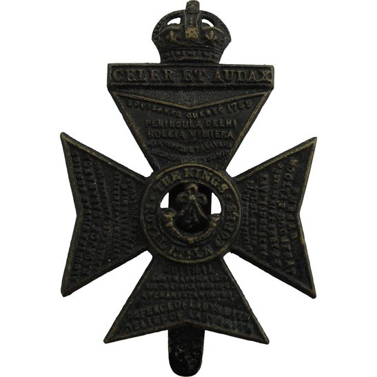 Kings Royal Rifle Corps KRRC Kings Royal Rifle Corps KRRC Regiment (King's) Cap Badge - F.N. B'HAM Makers Mark