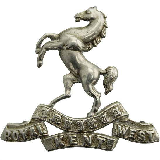 Royal West Kent EDWARDIAN Queens Own Royal West Kent Regiment Cap Badge - LUG VERSION