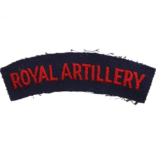 Royal Artillery WW2 Royal Artillery Regiment Cloth Shoulder Title Badge Flash