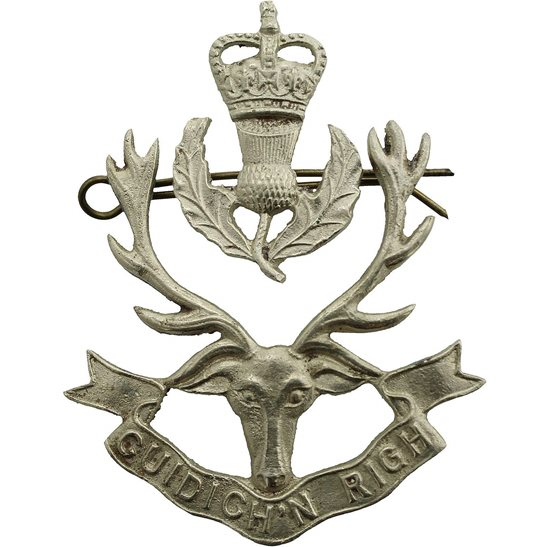 Seaforth Highlanders Queen's Own Highlanders (Seaforth and Camerons) Regiment Cap Badge - Queens Crown