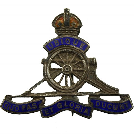 Royal Artillery WW1 Royal Artillery Regiment SILVER Sweetheart Brooch