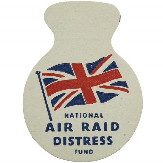 WW2 Blitz Air Raid Distress Fund Bombed Out Families Flag Day Fundraising Pin Badge