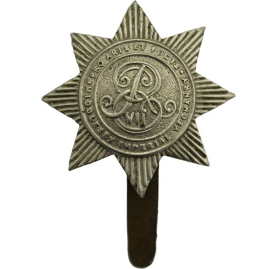 Middlesex Imperial Yeomanry EDWARDIAN Middlesex Imperial Yeomanry Regiment Cap Badge - F.E. WOODWARD B'HAM Makers Mark
