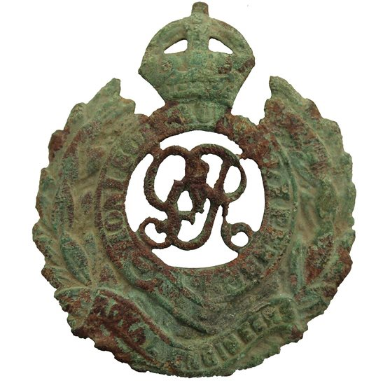 Royal Engineers UK Dug Detecting Find - WW1 Royal Engineers Corps Relic Cap Badge