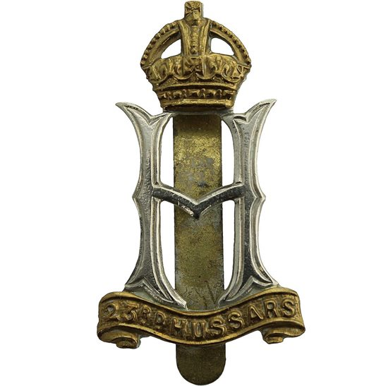 23rd Hussars WW2 RAISED 23rd Hussars Regiment Cap Badge