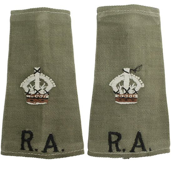 Royal Artillery WW2 Royal Artillery Officers CLOTH Slip-On Epaulette Insignia Pips - Rank of Major PAIR