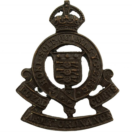 Royal Army Ordnance Corps RAOC WW2 Royal Army Ordnance Corps RAOC OFFICERS Bronze Collar Badge