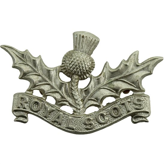 Royal Scots Royal Scots (Scottish) Regiment WHITE METAL Volunteers Collar Badge