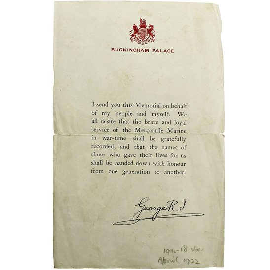 MERCANTILE MARINE  WW1 Death Penny / Memorial Plaque Buckingham Palace Letter Insert Slip
