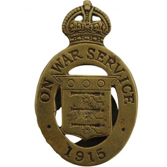 WW1 On War Service 1915 Lapel Badge - MAPPIN & WEBB LTD SHEFFIELD