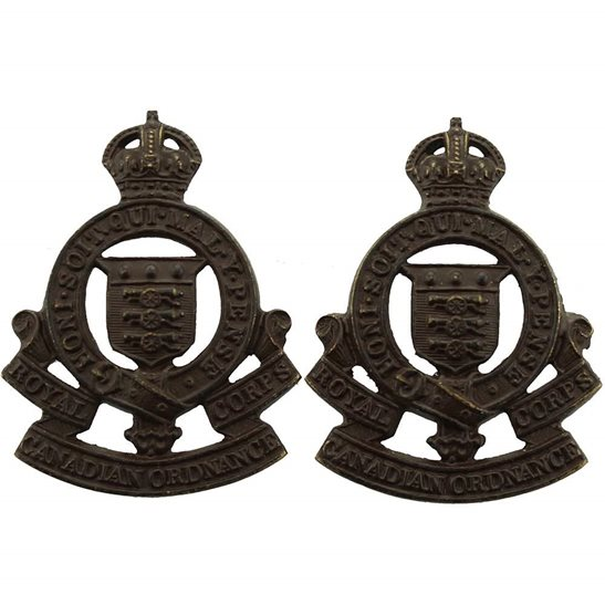 WW2 Canadian Army WW2 Royal Canadian Ordnance Corps Canada BRONZE Officers Collar Badge PAIR