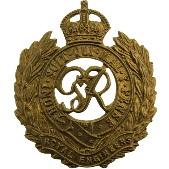 Royal Engineers WW2 Royal Engineers Corps (George VI) Cap Badge - LUGS VERSION