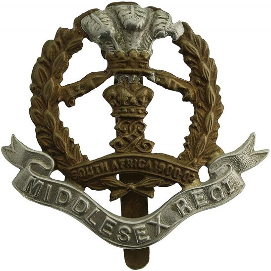 Middlesex Regiment WW1 7th, 8th & 9th Territorial Battalions Middlesex Regiment Cap Badge