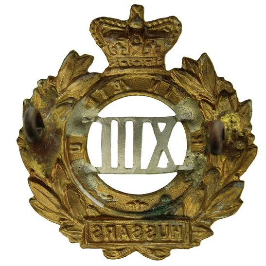 additional image for VICTORIAN 13th Hussars Regiment Cap Badge - Queen Victoria Crown