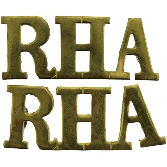 Royal Horse Artillery RHA WW1 Royal Horse Artillery Regiment RHA Shoulder Title PAIR