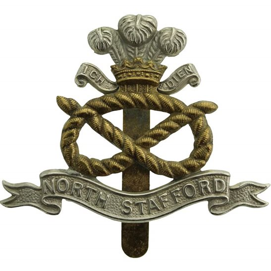 North Staffordshire WW1 North Staffordshire (Stafford) Regiment Cap Badge