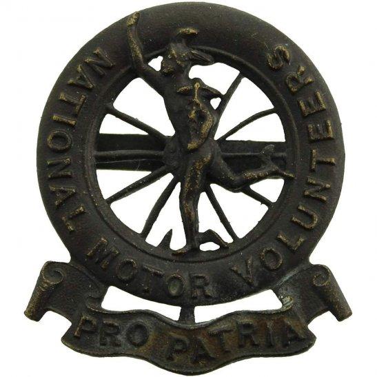 Motor Transport WW1 Raised National Motor Volunteers Corps OFFICERS Bronze Cap Badge