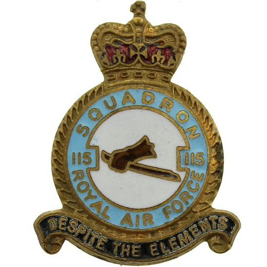 RAF Squadrons 115 Squadron Royal Air Force RAF Lapel Badge