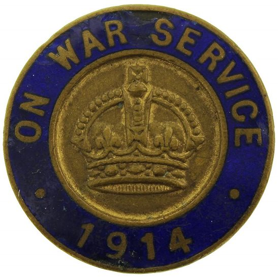 WW1 On War Service 1914 Enamel Lapel Badge - W. J. DINGLEY. B'HAM.