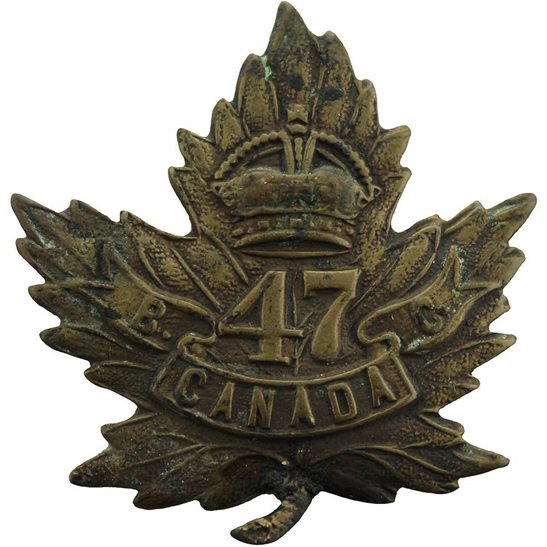 WW1 Canadian Army WW1 Canadian 47th Battalion (British Columbia) Canada CEF Cap Badge