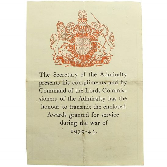 WW2 ADMIRALTY (Royal Navy) Medal Box Transmittal Slip Paperwork