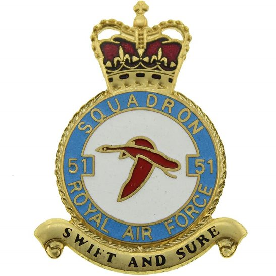 RAF Squadrons 51 Squadron Royal Air Force PLAQUE Badge RAF