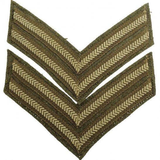 WW1 British Army Corporal Cloth Chevron Insignia Rank Stripes PAIR