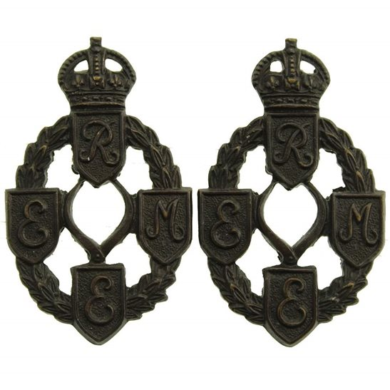Royal Electrical & Mechanical Engineers REME WW2 Royal Electrical & Mechanical Engineers REME Bronze OFFICERS Collar Badge PAIR