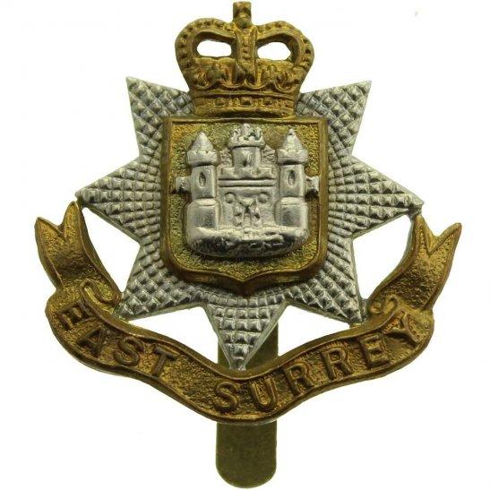 East Surrey East Surrey Regiment Cap Badge BUTTONS LTD B'HAM - Queens Crown