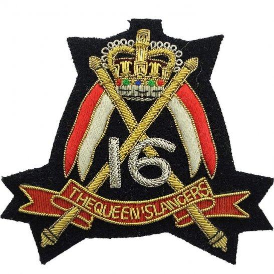 16th Lancers 16th (The Queens Lancers) Regiment Cloth Wire BULLION Veterans Blazer Badge