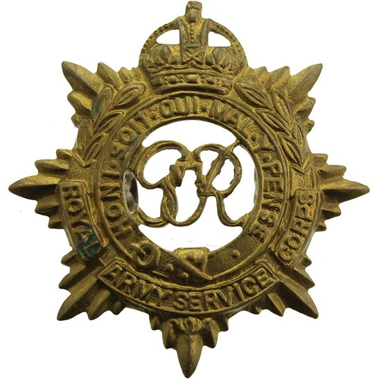 Royal Army Service Corps RASC WW2 Royal Army Service Corps (George VI) RASC Cap Badge - LUGS VERSION
