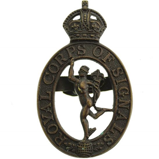 Royal Corps of Signals RCOS WW2 Royal Corps of Signals RCOS Officers BRONZE Officer's Cap Badge - GAUNT
