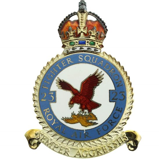 RAF Squadrons 23 Fighter Squadron SILVER Royal Air Force PLAQUE Badge RAF