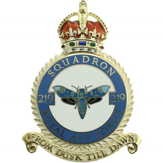 RAF Squadrons 219 Squadron SILVER Royal Air Force PLAQUE Badge RAF