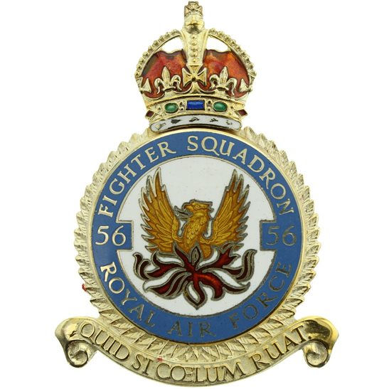 RAF Squadrons 56 Fighter Squadron SILVER Royal Air Force PLAQUE Badge RAF