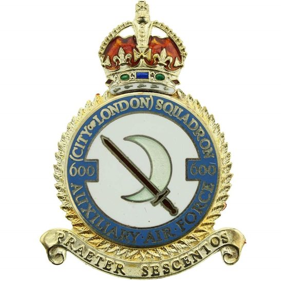 RAF Squadrons 600 City of London Squadron SILVER Royal Air Force PLAQUE Badge RAF