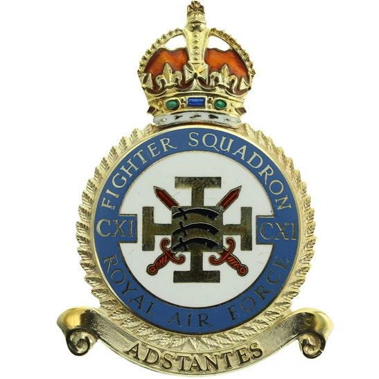 RAF Squadrons 111 CXI Fighter Squadron SILVER Royal Air Force PLAQUE Badge RAF