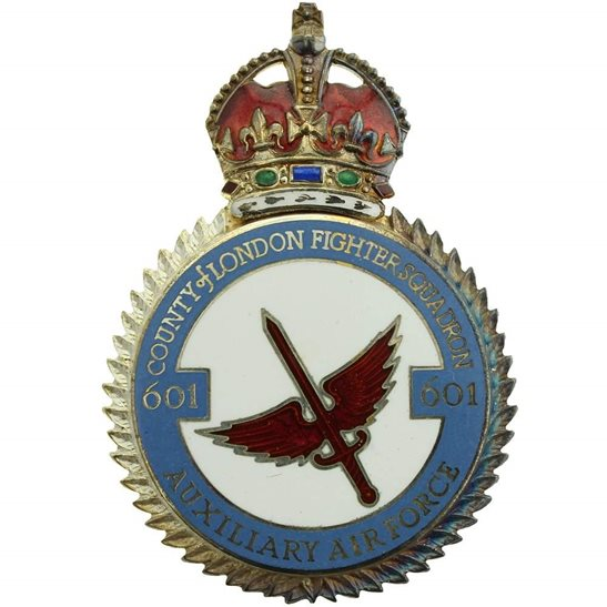 RAF Squadrons 601 Fighter Squadron SILVER Royal Air Force PLAQUE Badge RAF