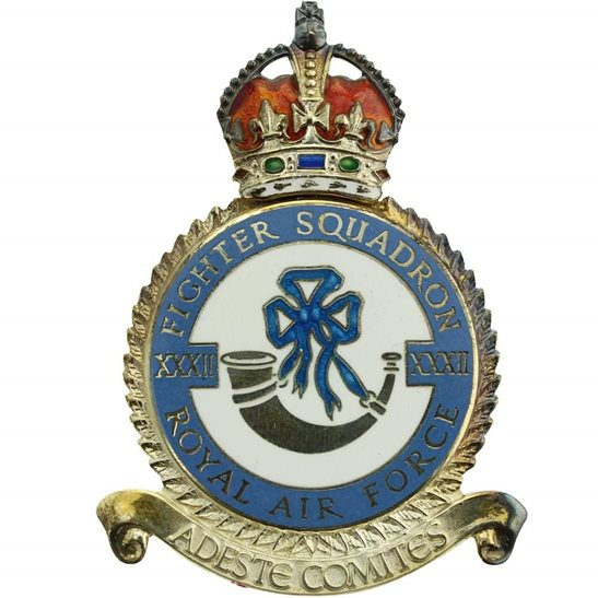 RAF Squadrons 32 XXXII Fighter Squadron SILVER Royal Air Force PLAQUE Badge RAF
