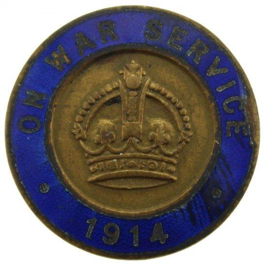WW1 On War Service 1914 Enamel Lapel Badge - VAUGHTONS LTD BIRMINGHAM