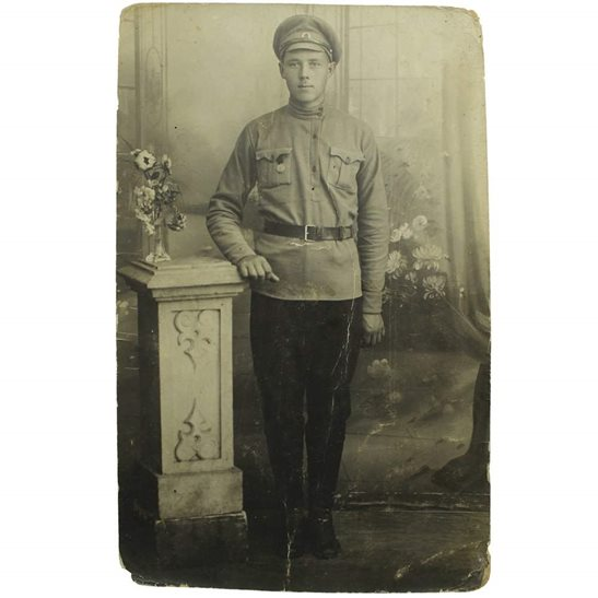 WW1 Photo - Imperial Russian Soldier in Uniform with Medal Eastern Front