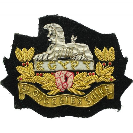 Gloucestershire Regiment Gloucestershire Regiment Gloucester Cloth WIRE Bullion Veterans Blazer Badge