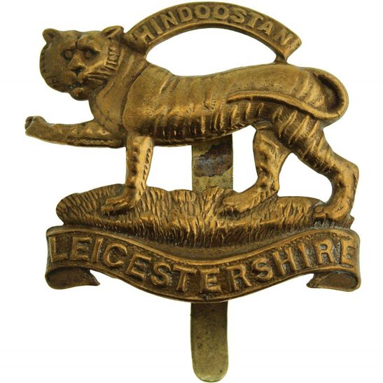 Leicestershire Regiment WW1 Leicestershire Regiment 1916 Economy Issue ALL BRASS Cap Badge
