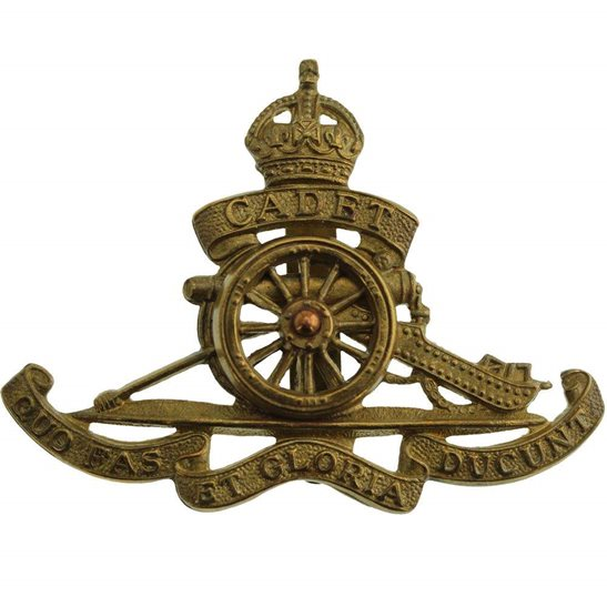 Royal Artillery WW1 Royal Field Artillery Regiment CADET Corps MOVING WHEEL Cap Badge